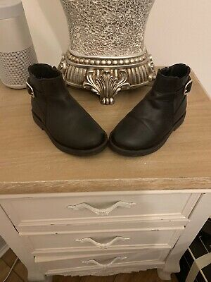Zara Baby Toddler Black Leather Boot Size 22