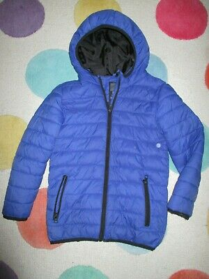 Children's royal blue hooded and padded jacket - showerproof - age 7-8 years