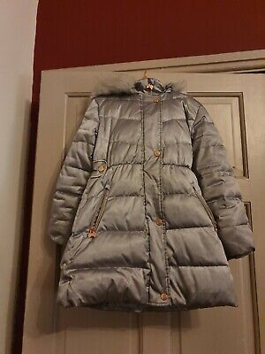 Girls Age 8 Ted Baker Silver Down Quilted Padded Coat Parka Jacket Faux Fur Hood