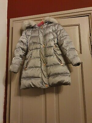 Girls Age 6 Ted Baker Silver Down Quilted Padded Coat Parka Jacket Faux Fur Hood