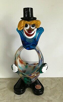 Italian Murano Venetian Art Glass Clown Figurine Candy Dish Original Label