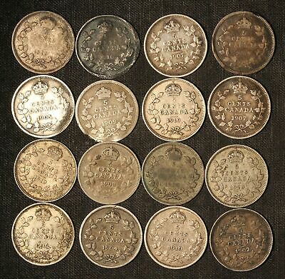 Lot of 16 1900-1920 Canada 5c Silver 5 Cent Nickels - Free Shipping USA
