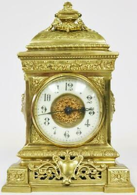 Beautiful Quality Antique Embossed Bronze Ormolu French 8 Day Cube Mantle Clock