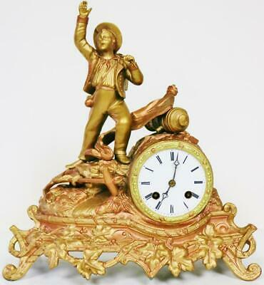 Antique French 2 Train Silk Suspension 2 Tone Gilt Metal Figural Mantle Clock