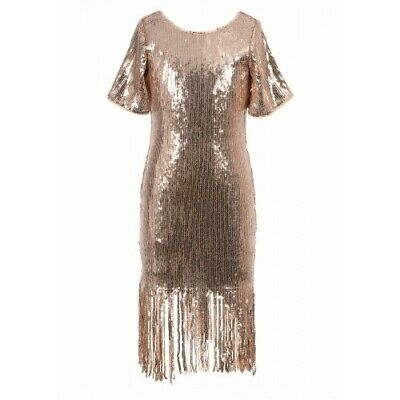 NEW! Girls Hannah Banana Gold Sequin Flapper Dress Size 7y