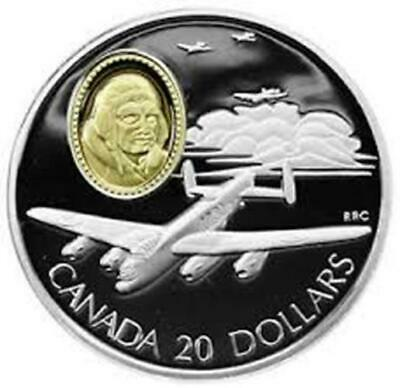 1990 Canada Proof $20 Aviation Series - Avro Lancaster Sterling Silver Coin