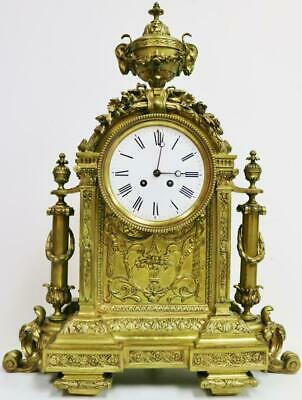 Stunning Large Antique XXXL Palace Quality French Embossed Bronze Mantel Clock