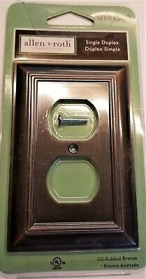 ALLEN + ROTH Single Duplex Wall Plate Outlet Cover Oil Rubbed Bronze Brand New!