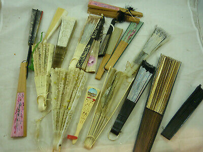 Vintage Chinese Asian Oriental Fan Wall Decor Hanging Wood Lucite LOT 18