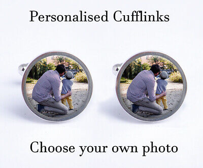 Personalised Photo Cufflinks Birthday Fathers Day Wedding Gift & Gift Box