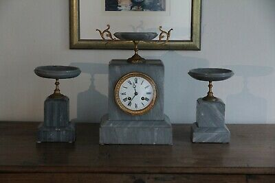 French Antique Grey Marble Clock with Matching Tazzas c.1800's