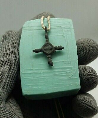 Perfect Ancient Bronze Pendant Cross Viking AGE c.10-11 AD , Wearable #131