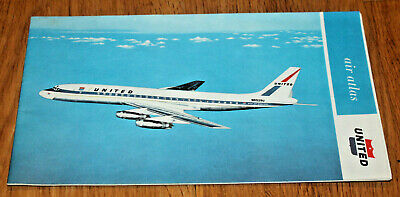 1960S United Airlines Air Atlas Dc-8 Map Travel Guide Brochure