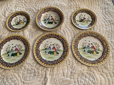 Beautiful Old Chinese Famille Rose Plate And Bowl 6 Pieces Quinlong Signed L@@K