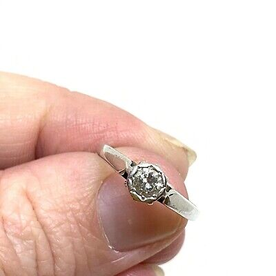 Antique Art Deco 18ct gold and diamond solitaire ring