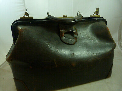 Vintage Brown Leather Doctor's Medical Bag Antique Dr Home Travel Kit