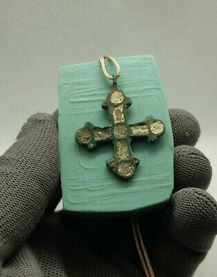 Pare Perfict ANCIENT Viking cross pendant Bronze & yellow enamel 9-12 cen.AD#217