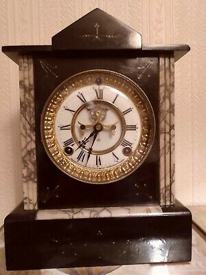 Antique Ansonia marble/slate striking mantel clock, serviced/full working order.