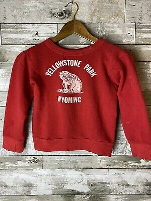 1950s/60s Kids Size Vintage Yellowstone National Park Crewneck Red