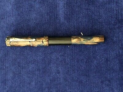 Blue And Brown Marbled Effect Warranted 14Ct Nib Fountain Pen Pat No 4 Four