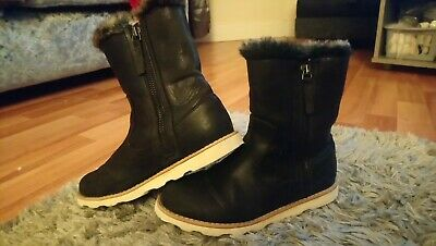 Girls Size 1 Next Black Boots Ankle Faux Fur Lined Double Zip Shoes Junior