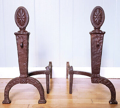 Antique Cast/Wrought Iron Andirons -RARE (Lots of searching -none similar) Heavy