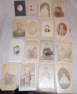 LOT OF 16  SMALL CABINET CARD PHOTOS 1880s VICTORIAN AMNY FROM CLARENCE IOWA