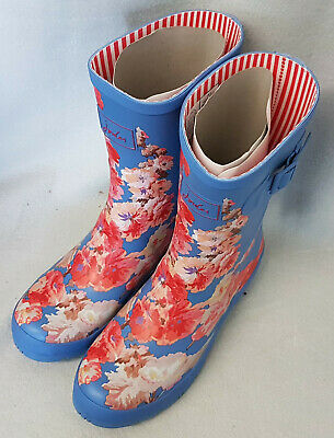 Joules Molly Welly Blue Floral Wellingtons Wellies Mid Height Festival BNWT Sz 3