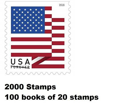 2000 USPS First Class Forever Stamps, US Flag, Booklets OF 20 - $1100 Face Value