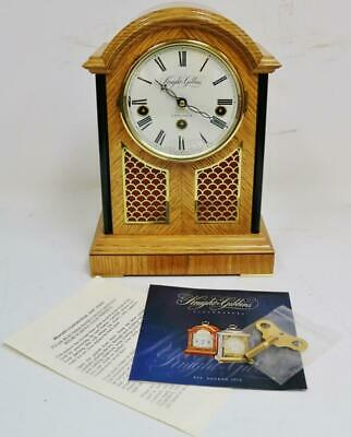 Vintage Knight & Gibbins London Tiger Oak & Brass Fret 1/4 Musical Library Clock