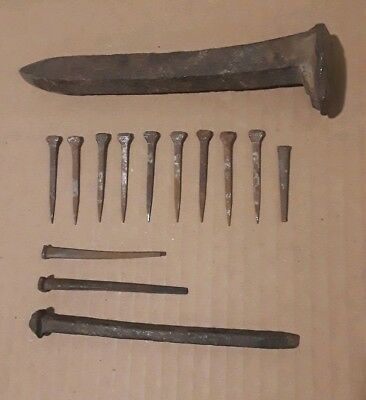 Antique nails and a railroad spike, various lengths vintage rusty