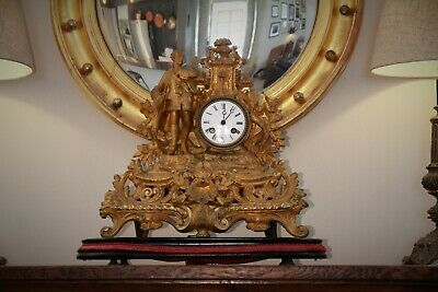 French Antique Gilt Spelter Japy Freres Clock c1800's