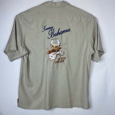 Tommy Bahama Men's Beige S/S Of Dice And Men Embroidered Camp Shirt Sz L