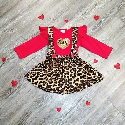Little Girls Leopard Print Valentine's Outfit