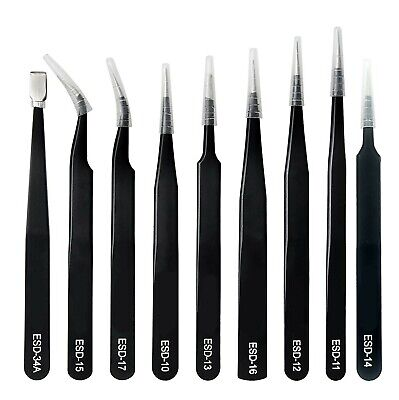 Professional 9 Piece ESD Antistatic Tweezer Set with Carry Case