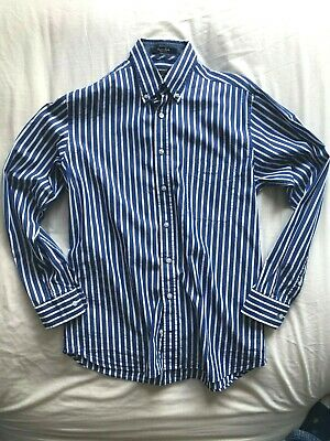 Gant Men's Blue Striped Cotton Poplin Shirt - Medium - Regular Fit