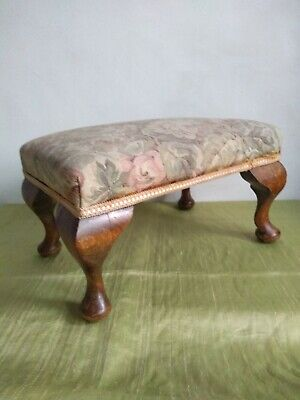 Vintage 1930's, Long, Wooden, Tapestry,Needlepoint,Stool,Footstool,Cabriole Legs