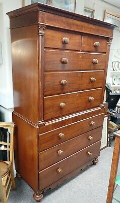 Early 19th Mahogany Chest on Chest Tallboy Acanthus Detail Turned Supports