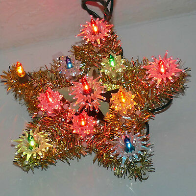 ⏲Christmas Tree Topper Star Lights UL Tested Small Multi Indoor Use Tinsel GOLD