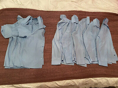 9 x Marks and Spencer Blue Boys School Shirts Slim Fit age 11-12 in VGC
