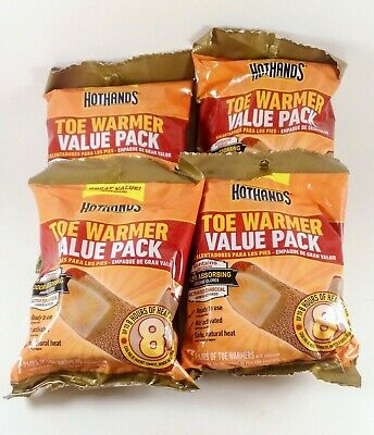 4 Packs - 28 Pairs of Hot Hands Toe Warmers HotHands FREE PRIORITY SHIPPING