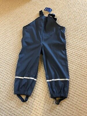 Boys Waterproof Trousers With Braces - 2-4 Years - Bnwt