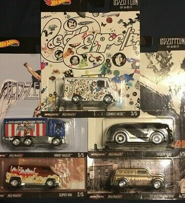 Hot Wheels 2020 Pop Culture Led Zeppelin 5 Car Set Hiway Hauler Combat Medic Van