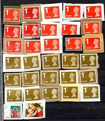 97) 60 GB Large Stamps 1st (30), 2nd (30) Unfranked On Paper FV £56.70