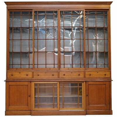 Stunning Huge 8'6 Feet Tall!! Victorian Oak Library Bookcase Sliding Glass Doors