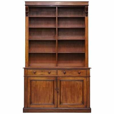 Rare Circa 1820 George Iii Mahogany Library Bookcase Gr Barron's Stamped Locks