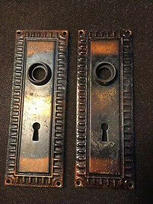 Antique  Pair Of Art Deco Egg & Dart Victorian DoorKnob Backplates #1