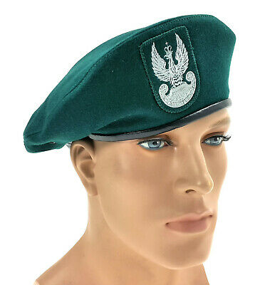 Authentic Polish Army Green Beret + Flash  Infantry Unit Poland Military Cap Hat