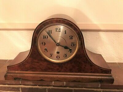 Antique Wellington Old Gong Mantel Clock 8 Day Vintage Décor Good Condition