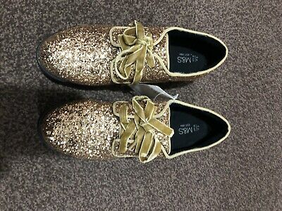 M&S Girls Sparkly Gold Glitter party Shoes Size Uk5 RRP £21